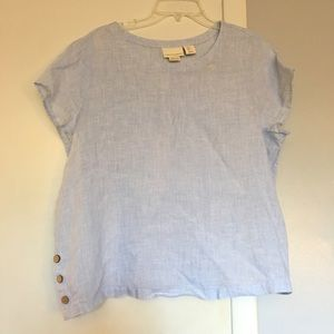 Cynthia Rowley Blouse Womens XL 100% Linen blue